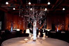 Winter wedding centrepiece