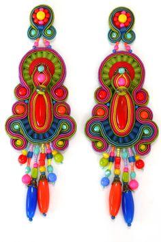 Tel Aviv trendy colorful earrings by Dori Csengeri Soutache Earrings, Beaded Earrings, Beaded Jewelry, Jewellery, Custom Jewelry, Handmade Jewelry, Dedicated Follower Of Fashion, Beaded Embroidery, Statement Jewelry