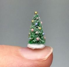 ooak miniature dollhouse christmas tiny tree glitter putz handcrafted micro 12 - Tiny Christmas Tree