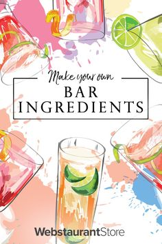 Have you ever been interested in making your own bitters, simple syrup, grenadine, or even maraschino cherries? Read our cohesive guide to make all four ingredients. Cocktail Mixers, Cocktail Recipes, Bitters Recipe, Homemade Bar, Maraschino Cherries, Cocktail Ingredients, Pomegranate Juice, Drink Specials