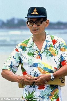King Bhumibol pictured in 1990, left, looking relaxed on the beach and right with Queen Si...