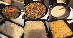 Ingredients (for 4 people): - Chicken fillet gr) - Average potatoes pieces) - Mushrooms items) - Large onion piece) - Good Food, Yummy Food, Grated Cheese, Chicken Casserole, Food Pictures, Sour Cream, Mashed Potatoes, Macaroni And Cheese, Stuffed Mushrooms