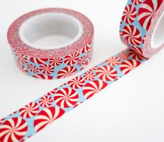 Single roll of washi tape with peppermint swirls pattern. Great for scrapbooking, gift wrapping, decorating cards and envelopes and more! Add a little dash of cuteness to any crafting project! Washi t