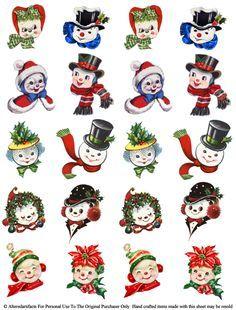 Vintage Like Chenille Ornaments Snow People Free Printable Vintage Christmas Images, Retro Christmas, Christmas Art, Christmas Projects, All Things Christmas, Holiday Crafts, Christmas Holidays, Christmas Decorations, Christmas Ornaments