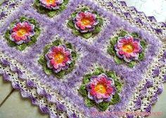 Tapete em crochê lilás decore