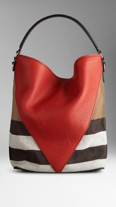 5376ed3cac4 Mittlere Hobo-Tasche mit Canvas-Karomuster und Chevron-Leder Burberry  Source by aycaydn