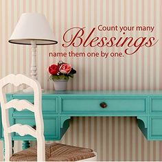 Count Your Many Blessings Vinyl Wall Decal for Home  Decor http://customvinyldecor.com/vinyl-decor/lds-quotes/