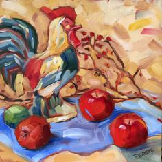 Rooster apples kitchen still life 12 x 12 by LaurieRubinettiArt