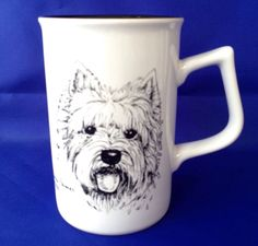 WESTIE Terrier Mug West Highland Dog Sketch Cindy Farmer Rosalinde White Black #Rosalinde