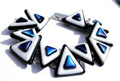 Geometric Bracelet, Fused Glass Bracelet, Fused Glass Jewelry, Dichroic Fused Glass, Triangle, Black and White (Item 20053-LB)