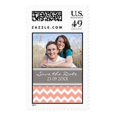 Coral Grey Chevron Save the Date Wedding Stamps