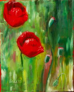 Red poppies oil painting flower painting by LAURADALLAGATA on Etsy, $140.00