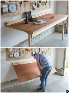 DIY Folding Workbench-Garage Organization and Storage DIY Ideas Projects - - DIY Folding Workbench-Garage Organization and Storage DIY Ideas Projects Dr. Marshall Hane DIY Folding Workbench-Garage Organization and Storage DIY Ideas Projects Garage Organisation, Diy Garage Storage, Diy Organization, Workbench Organization, Craft Storage, Diy Garage Work Bench, Garage Office, Diy Organizer, Diy Garage Shelves