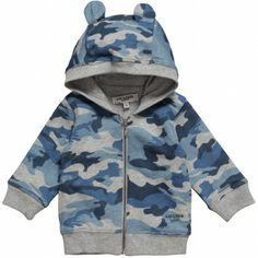 Junior Gaultier Boys Blue Camouflage Hooded Top at Childrensalon.com
