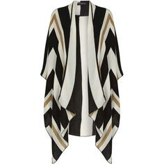 Dorothy Perkins Cream Graphic Cape ($35) ❤ liked on Polyvore featuring outerwear, cream, dorothy perkins and cape coat