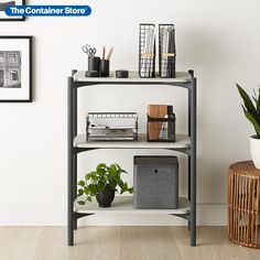 You don't need tools, hardware or even loads of time to add extra storage. This sleek shelving unit assembles in a snap; literally, parts snap and lock together to create a sturdy, modular, multi-functional piece. Adjustable feet keep everything stable. Clean lines blend with any room. Made with a unique composite of recycled wood and resin, these shelves are strong and durable. Storage, Staying Organized, Dorm Organization, Storage Shelves, Shelves, Shelving Solutions, Recycled Wood, Shelving, Home Decor