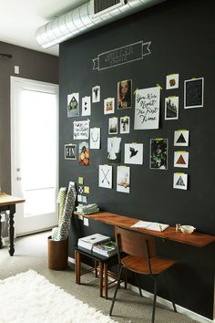 black painted wall for simple workspace