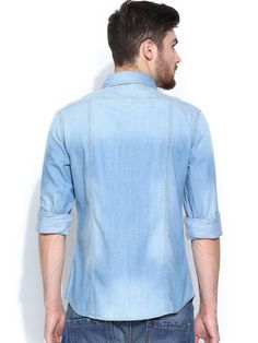 United Colors of Benetton Men Blue Denim Casual Shirt
