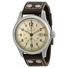 Hamilton Khaki Field Automatic Old Paper Dial Brown Leather Men's Watch H70595523