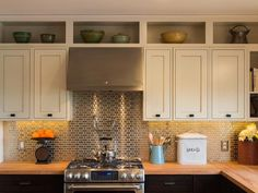 Kitchen  Cabinets:  may want to add the open shelves above the cabinets