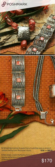 """Silpada BINTAGE 2005 Bracelet Rare Stunning sterling and cherry crystals Fits  7 1/4"""" wrist locking clasp with safety chain silpada Jewelry Bracelets"""
