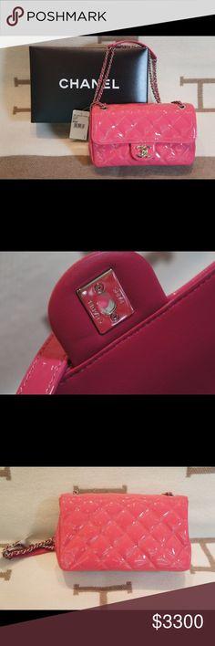 Chanel Fuschia Small Silver Chain Flap Bag Brand New 100% Authentic Chanel Patent Leather Fuschia Small Silver Chain Flap Bag CHANEL Bags Shoulder Bags