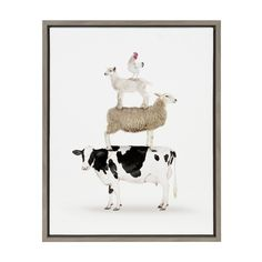Sylvie Stacked Farm Animals Framed Canvas by Amy Peterson - Gray / 18x24