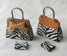 Francesca Vernuccio, IGMA fellow - leather and fabric animal print handbags with coordinating wallet Mini Purse, Mini Bag, Purse Cupcakes, Barbie E Ken, Accessoires Barbie, Fabric Animals, Tiny Dolls, Mini Handbags, Barbie Accessories