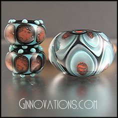 Ginnovations lampwork, Navajo Grand (3 beads)