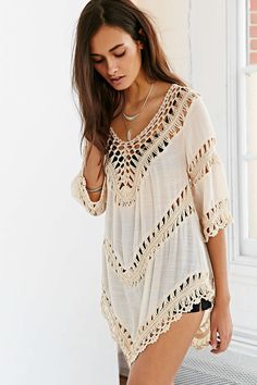 Ecote Crochet Inset Tunic Top - Urban Outfitters