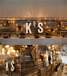 50 Inspiring Wedding Initials & Letters Decor For Your Special Day - Beauty of Wedding Head Table Wedding, Wedding Reception Backdrop, Pallet Wedding, Rustic Wedding, Trendy Wedding, Light Wedding, Wedding Unique, Head Table Backdrop, Backdrop Lights