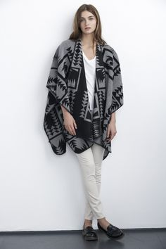 Navajo Print :: Wool Poncho :: Fall Trends :: Outerwear :: Oversized Blanket Wrap::  Velvet by Graham & Spencer