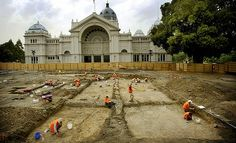Night soil trenches and the footings of a German kiosk uncovered in an archaeological dig on the western side of Melbourne's Exhibition Building