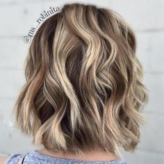 Wavy Brown Blonde Balayage Bob