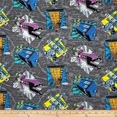 """Dreamland Doctor Who : BBC Doctor Who Comics - I'm A Madman With A Box Grey Fabric 100% cotton fabric by the yard 36""""x43"""" (H72) by Angelfabric on Etsy"""