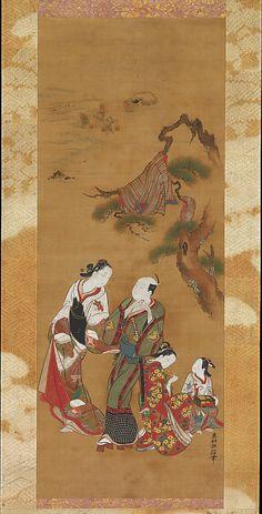 Yukihira and Two Brinemaidens at Suma  Okumura Masanobu  (Japanese, 1686–1764)  Period: Edo period (1615–1868) Date: 18th century Culture: Japan Medium: Hanging scroll; ink and color on silk