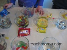 Science experiments with candy
