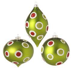 RAZ Imports Glittered Polka Dot Ornaments