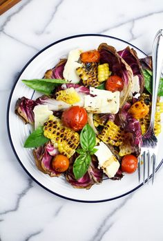 Grilled Corn, Radicchio, and Roasted Tomato Salad {Katie at the Kitchen Door}