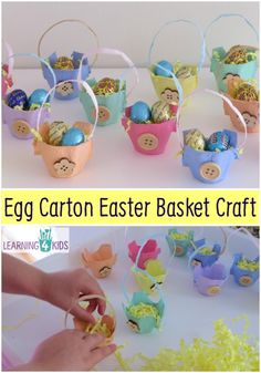 How to make Egg Carton Easter Egg Baskets? Children will have fun turning a boring cardboard egg carton into these gorgeous Easter baskets.