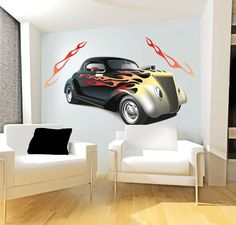 smartwalling, MOVABLE wall decals - Hot Rod with Flames Wall Decal, $7.95 (http://www.wholesaleprinters.com.au/hot-rod-with-flames-wall-decal)
