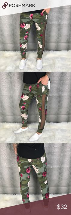 Butter Soft Camo Floral Joggers w Pockets New with tags . Army green joggers with Camo design and floral print . Two front pockets and adjustable drawstring waist . Drop crotch style joggers with mesh side paneling Pants Track Pants & Joggers
