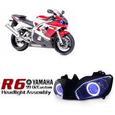 yamaha r dual angel eye hid projector custom headlight yamaha r6 1999 2002 ktmotorcycle com custom