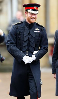 """"""" Prince Harry stepped out with his grandfather Prince Philip on Thursday to honor fallen service members at Westminster Abbey in London."""