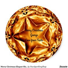 Merry Christmas Elegant Shiny Gold Copper Star Stickers