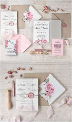 Pretty English Rose wedding invitations