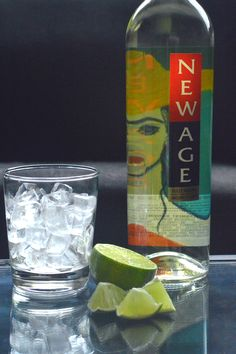 A Tincho - New Age wine on ice with a lime wedge