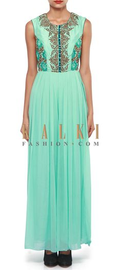 Buy Online from the link below. We ship worldwide (Free Shipping over US$100). Product SKU - 308770.Product Link - http://www.kalkifashion.com/aruba-blue-jumpsuit-adorn-in-resham-and-zardosi-embroidery-only-on-kalki.html