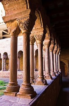 Romanesque cloister of the monastery of Santa Maria, L'Estany, Bages, Barcelona, Catalonia.