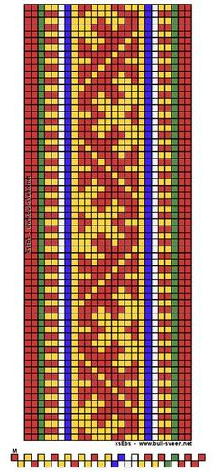 Mønster til samisk bånd. Dette kan veves på vanlig grindvev. 17 mønstertråder. I denne type bånd har vi valgt å bruke garnet Áhkko. Áhkko er et 4-trådet kamgarn av 100% ull. Et utmerket garn til både veving og strikking. Tynt, men sterkt, smidig og holdbart.